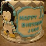 B1: Penguin Birthday Cake - Side View showing Lettering and Chevrons