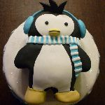 "B1: Penguin Birthday Cake with ""Smash Cake"" on Top"
